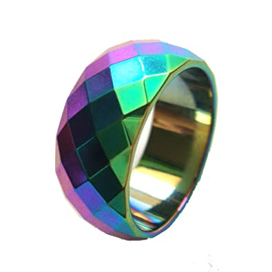 cf8f147931004 1pc 10mm Rainbow Wide Faceted Magnetic Hematite Finger Band Ring ...