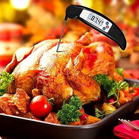 COOLEAD Termómetro de Cocina Plegable Sonda Larga Barbacoa Carne Thermometer Impermeable Lectura Instantánea Pantalla LCD Digital Alimentos Termómetro para Cocinar Turquía Parrilla Leche Agua de Baño