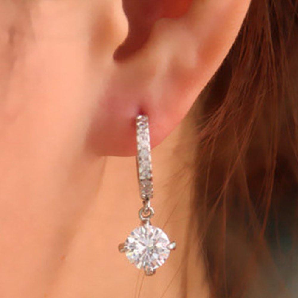 Crytech Dainty Luxury Cubic Zirconia Rhinestones Crystal Hoop Earrings Delicate Bridal Wedding Large Cz Diamond Dangle Drop Earrings for Lady Women Banquet Jewelry Gift