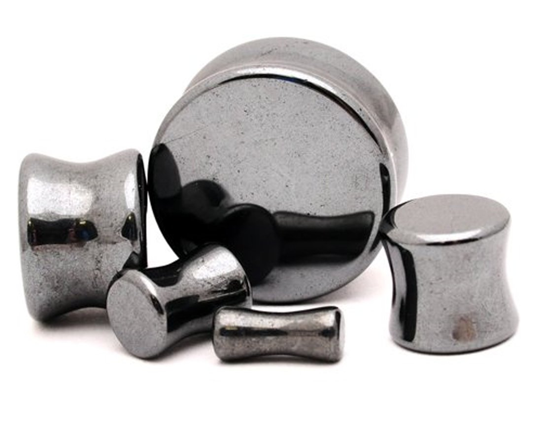 Hematite Stone Plugs - 9/16'' - 14mm - Sold As a Pair