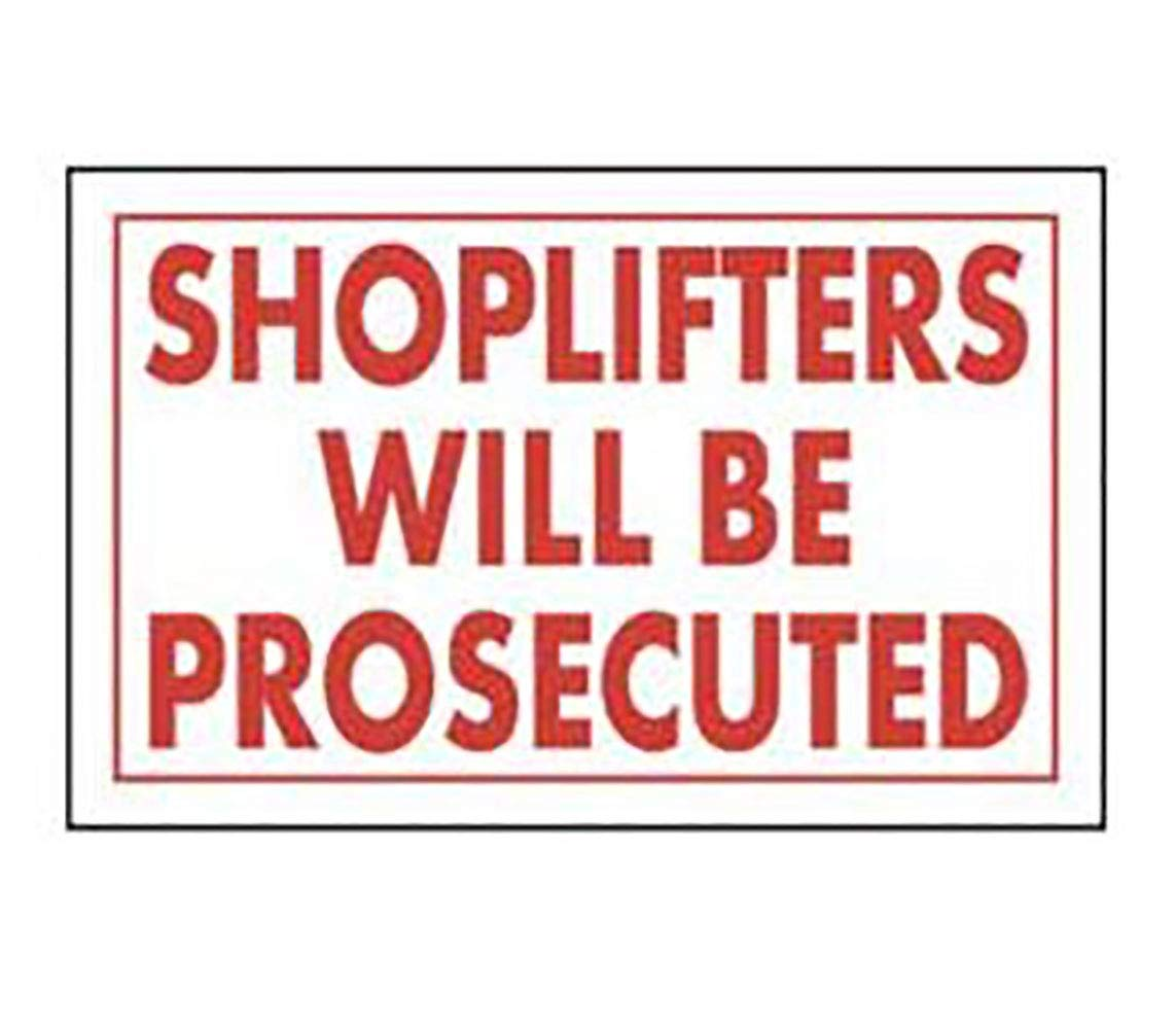Shoplifters Will Be Prosecuted Policy Sign Card