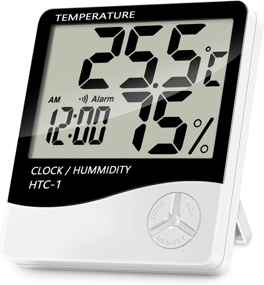 Lanhiem Termómetro Higrómetro Digital - Interior Termohigrómetro con Gran LCD Pantalla, Función Reloj de Alarma, Medidor de Temperatura Humedad para Casa y Oficina