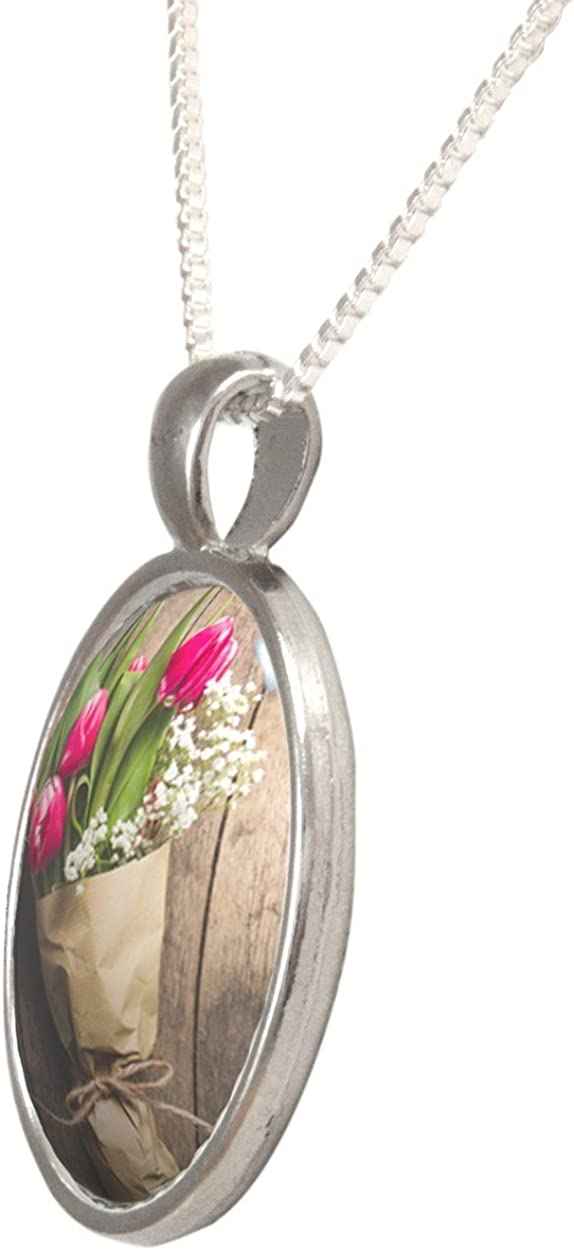 Arthwick Store Photograph of a Bouquet of Tulips on Wood Pendant Necklace