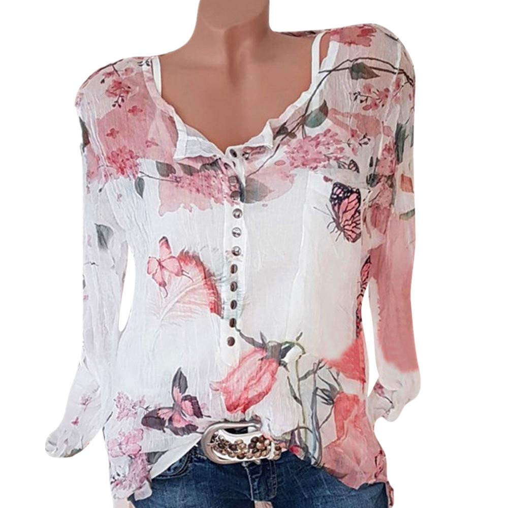 TWIFER 2019 Chiffon Sommer Shirt Damen beiläufige Blumen Druckknopf T Shirt Chiffon unregelmäßige Rand Spitzenbluse