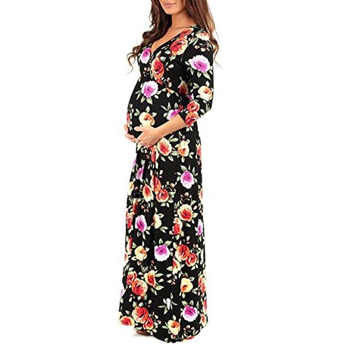 Cinnamou Vestido de estampado en cuello V manga Largos para mujer embarazada vestidos premamá verano elegantes