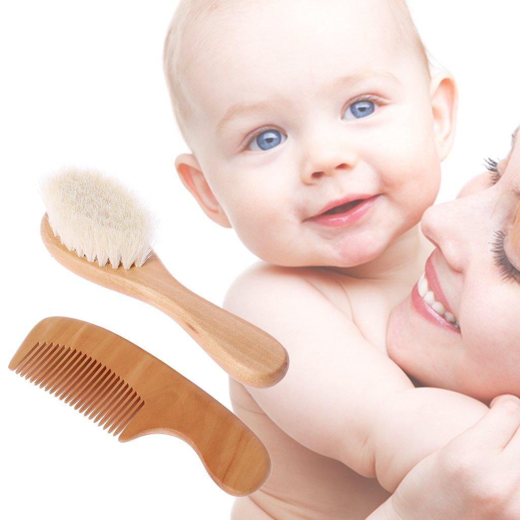 Chiic 1 jeu Peigne brosse b/éb/é Massage de la t/ête des cheveux Peigne en laine avec manche en bois Enfants nouveau-n/és Kit de soin des cheveux