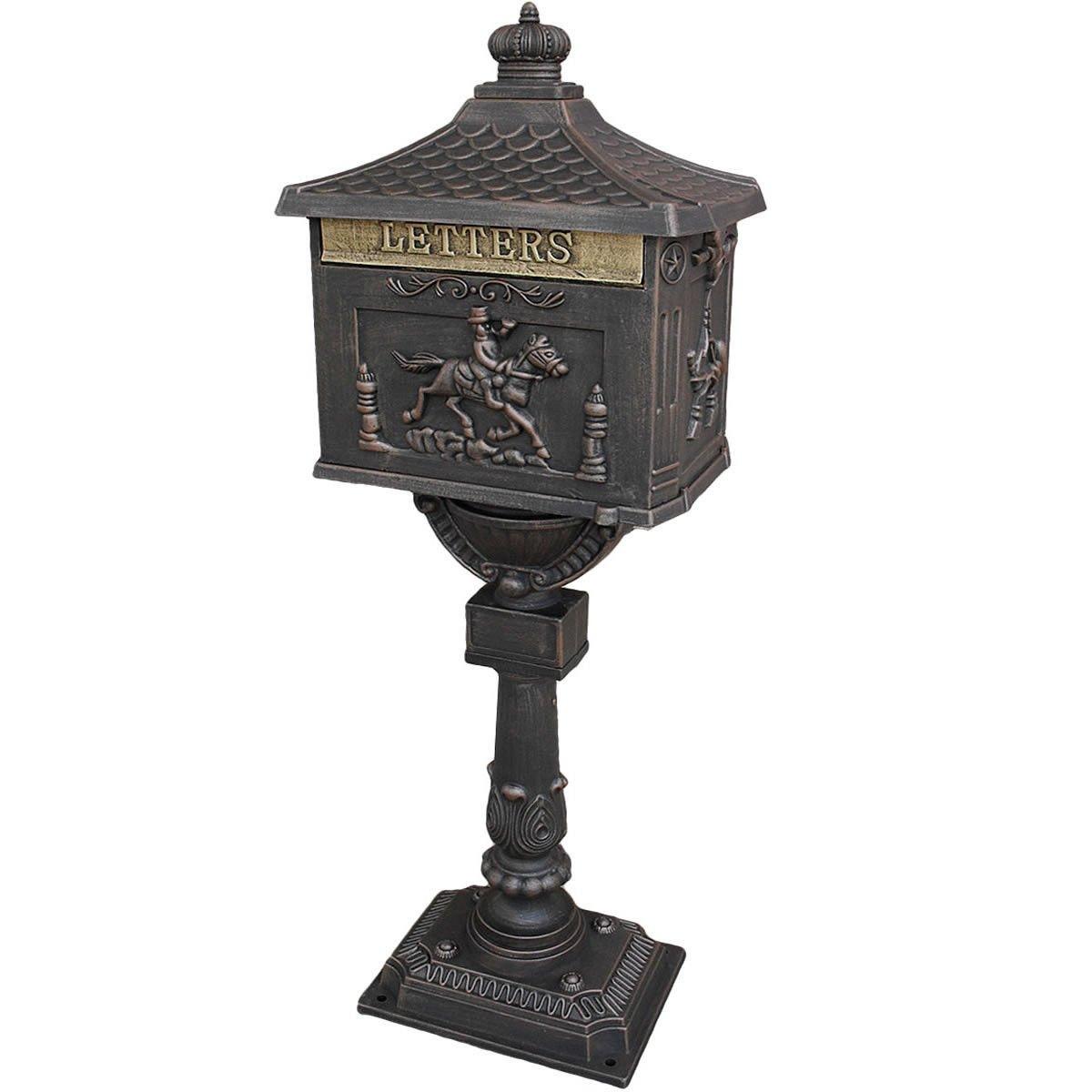 Goplus Mailbox Cast Mail Box Postal Box Security Aluminum Post/pedestal Heavy Duty (bronze)