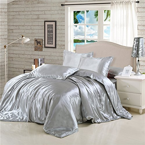 Rose Auroma Satin Silky Bedding Set FULL SIZE 4-piece, Duvet Cover, Flat Sheet, Pillow Cases, Wr ...