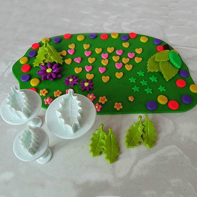 Juego de 3 Piezas de Moldes Cortadores con Forma de Hoja Navideña para Decoración de Pasteles, Fondant, Glaseado, Repostería: Amazon.es: Hogar