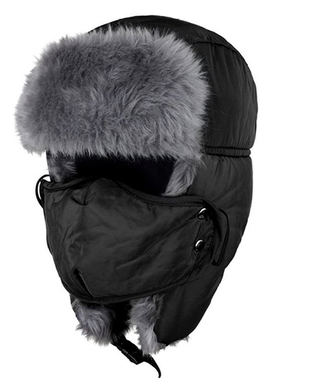 [Black Friday promotion]Oumosi Unisex Nylon Russian Style Winter Ear Flap Hat-Black A03FS078018-H3