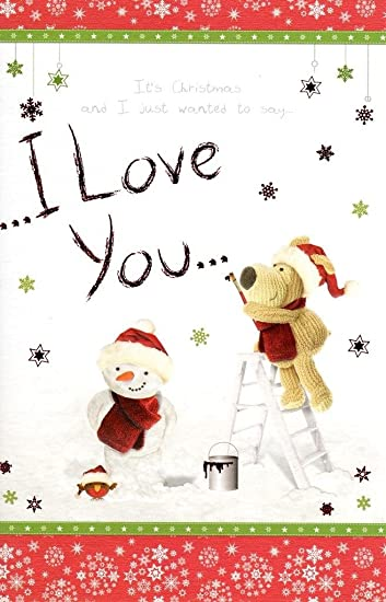 Boofle I Love You Christmas Greeting Card Embellished Special Xmas Cards