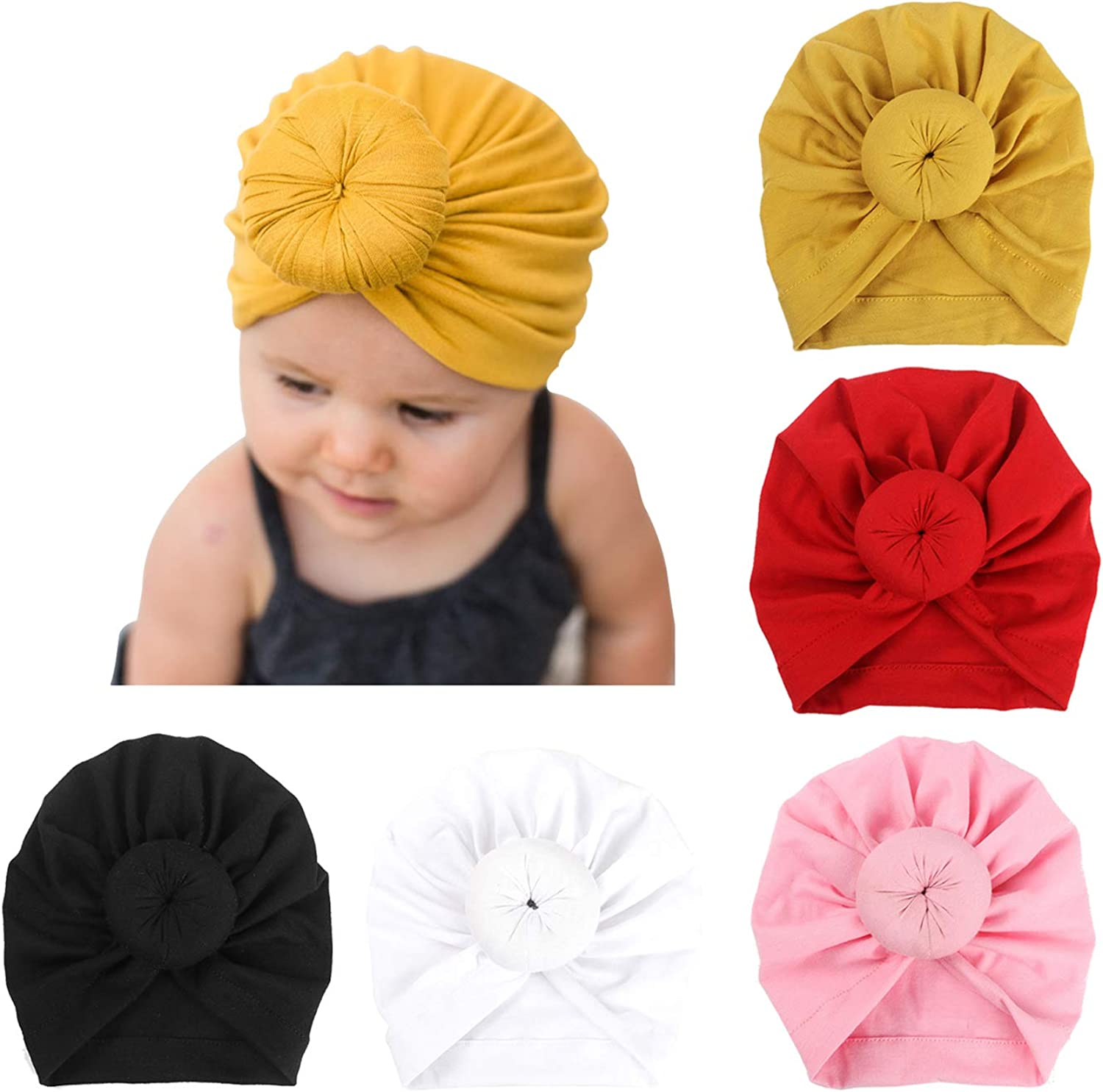 Aweekly Baby Turban Hats Turban Bun Knot Baby Hat with Bow Infant Beanie Baby Girl Soft Cute Toddler Cap