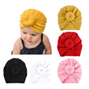 BQUBO 5 Pieces Baby Turban Hats Turban Bun Knot Baby Infant Beanie Baby Girl Soft Cute Toddler Cap