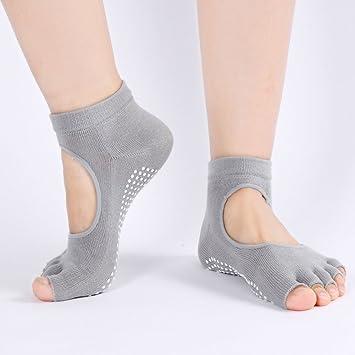 Transpirable Mujer empeine Expuesto mitad Dedos Antideslizante Yoga Calcetines Casual Pilates Barre Calcetines de dedos para agarre, gris: Amazon.es: ...