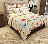 Home Candy 144 TC Fishes Kids Cotton Double Bedsheet with 2 Pillow Covers - Multicolor
