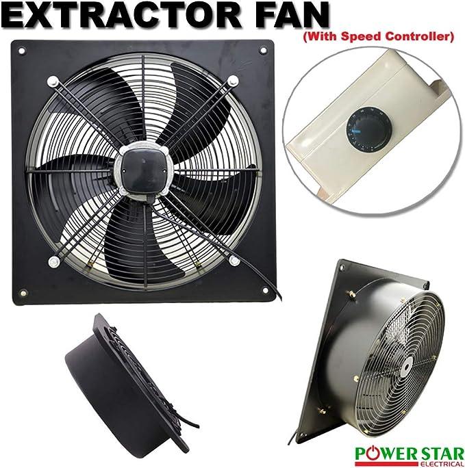 Extractor de metal industrial de ventilación de escape con ventilador de aire comercial con controlador de velocidad, grande para restaurante, taller, almacén ...