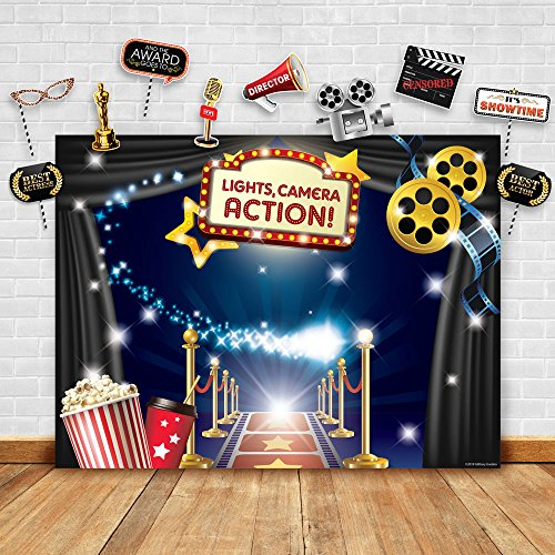 Hollywood - Movie Theme Photography Backdrop and Studio Props DIY Kit. Great as Dress-up and Awards Night Ceremony Photo Booth Background, Vintage Costume Birthday Party Supplies and Event Decorations -