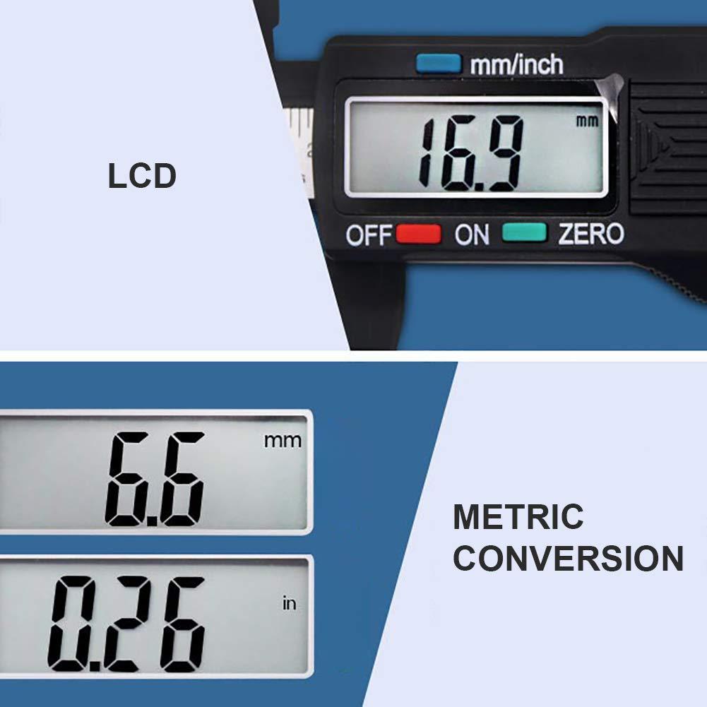 EisEyen Digitaler Messschieber 0-6 Zoll 0-150 mm mit gro/ßem LCD-Bildschirm Elektronischer Messschieber Messwerkzeug