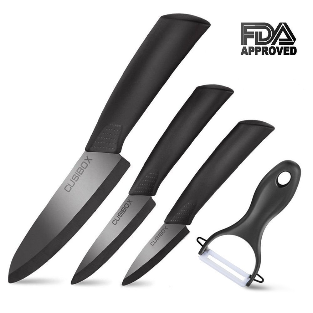 Ceramic Knife Set 4-Pieces Mirror Gloss Knife Ceramic Set with Sheaths Super Sharp Ceramic Knives Stain Resistant and Paring knife Set Blade Knives 6'' Chef Knife 4'' Utility 3'' Paring and 1'' Peeler