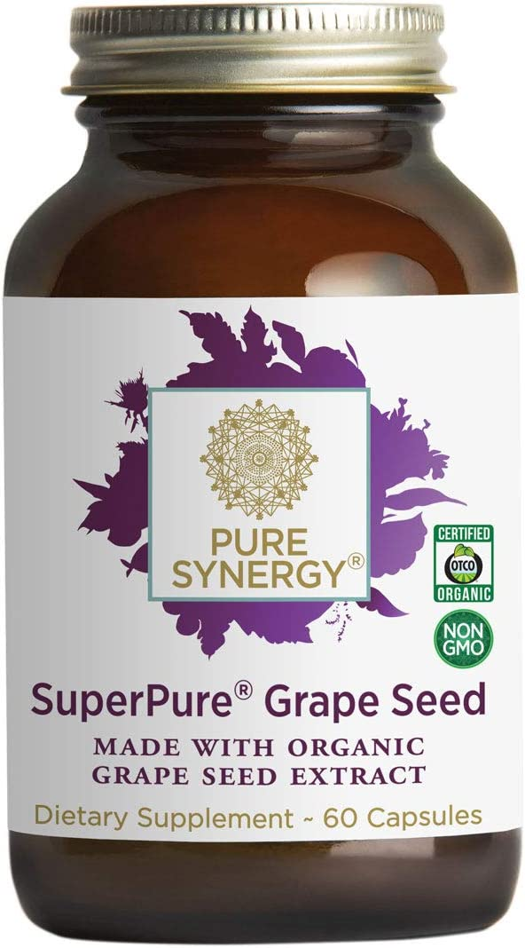 Pure Synergy SuperPure Grape Seed Extract 60 Capsules w Proanthocyanidins for Antioxidant Support
