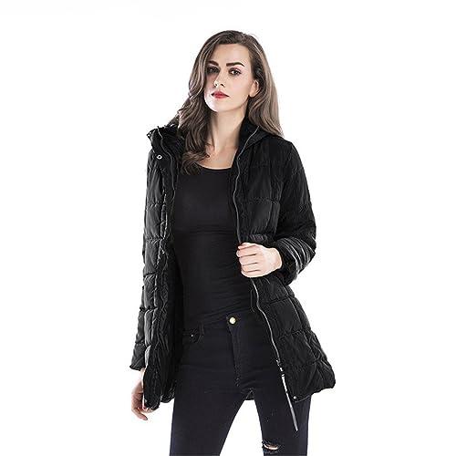 Larga Mujer Chaquetas, AIMEE7 Mujeres Invierno Delgada Slim Down Abrigo Capa De La Chaqueta (Size:XL, Black)