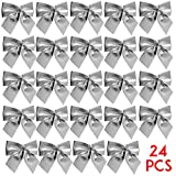 Bennyue Christmas Tree Bowknot Decoration Ribbon Bows Glitter Hanging Xmas Ornament DIY Party Garden Wedding Décor (Silver)