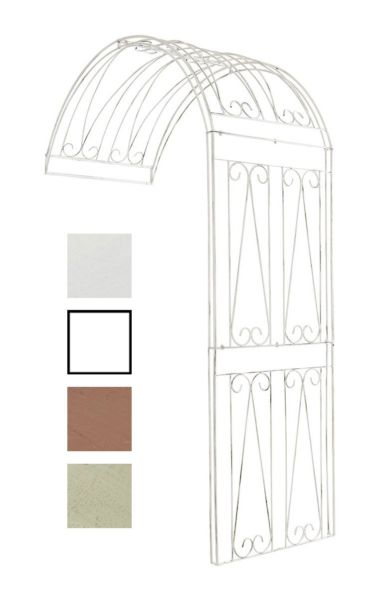 CLP Halbbogen RICCARDO, Metall Rosenbogen halbrund zur Wandbefestigung, Eisen antik weiß, 160 x 80 x 258 cm