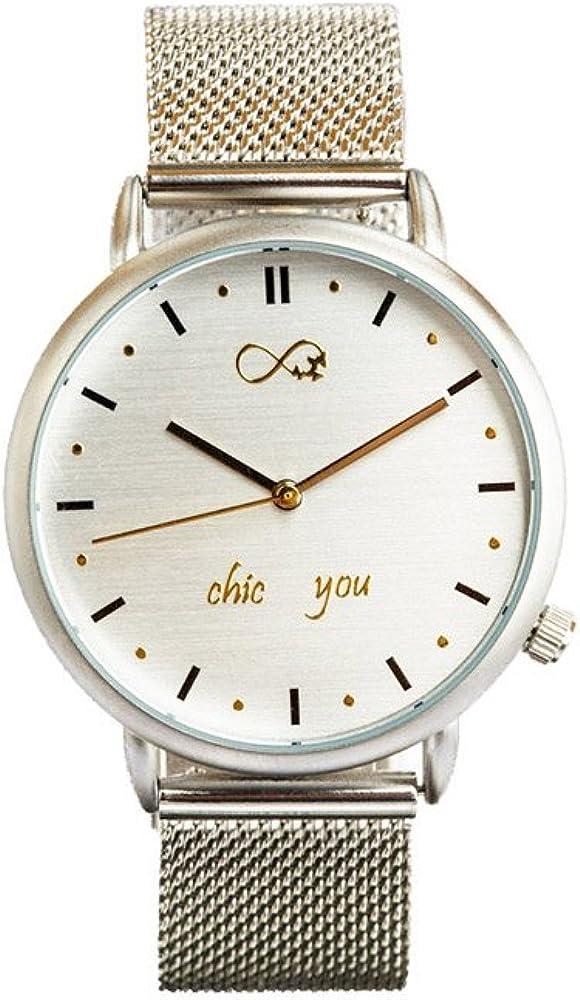 Reloj de Mujer Silver Icon by Chic You: analógico con Movimiento de Cuarzo Miyota, Correa de Acero Inoxidable Color Plateado y Cierre de joyería y Esfera Plata con índices en Negro y Dorado.