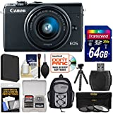 Canon EOS M100 Wi-Fi Digital ILC Camera & EF-M 15-45mm is STM Lens (Black) 64GB Card + Backpack + Battery + Tripod + 3 Filters + Kit