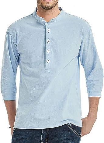 Hombre Camisetas Lino Henley Shirt Manga Larga Camisa con Botones Verano Casual Solid Top: Amazon.es: Ropa y accesorios