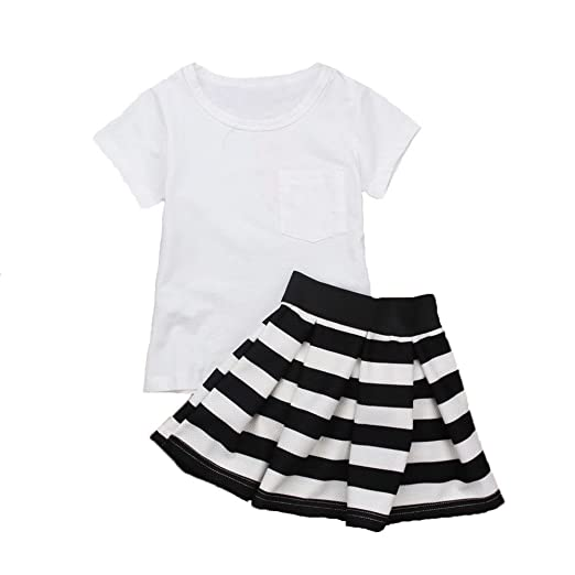 Amazon 2pcs Baby Girl Kids White Shirt Set Short Skirt With