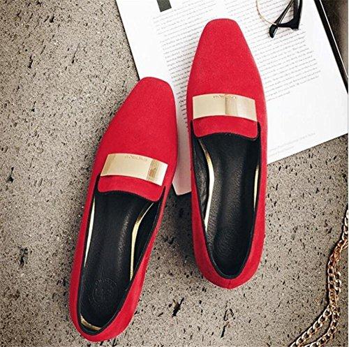 Zapatos A Red Bailarina Ante Mocasines 35 Tamaño Mujer Plano Cerrado 41 toe De Oficina rPHgqnwr