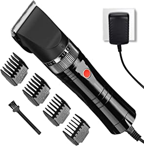 HONGNAL Pro Pet Clippers, Dog/Cat/Sheep Grooming Kit-7000 RPN-5000 mAh, Powerful Electric Pet Cutting Shaver with Low Noise, Guide Combs,Pet Hair Cutting Clipper with Low Noise (Black)