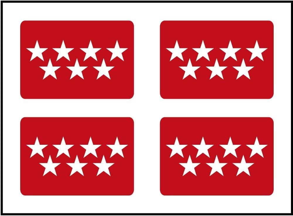 Artimagen Pegatina Bandera Rectángulo 4 uds. Madrid 30x18 mm/ud.: Amazon.es: Coche y moto