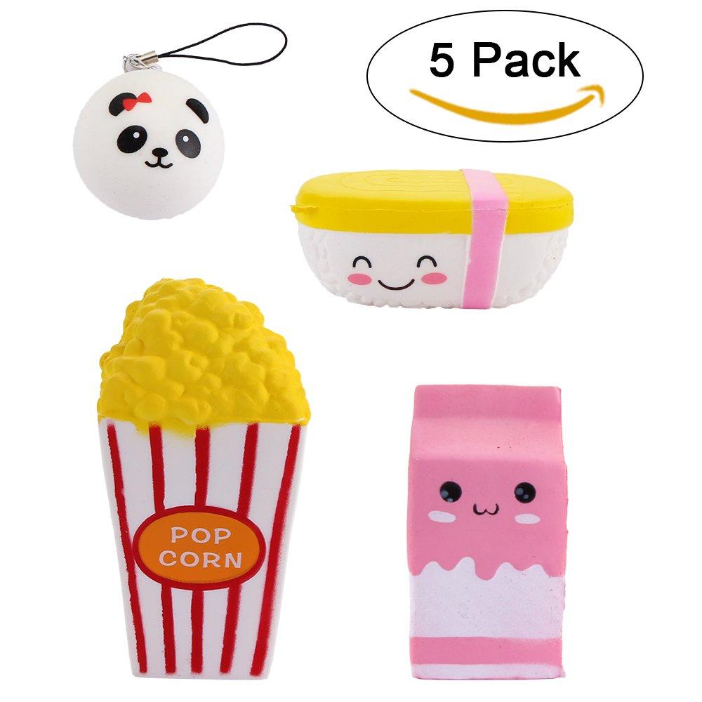 4 PC Jumbo Squishies Tazza per popcorn / Scatola per latte rosa Cartone animato / cibo per riso / mini panda charm Squishies con risveglio lento Giocattoli profumati