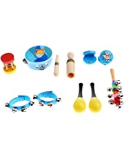 Perfeclan Kids Percussion Musical Instruments Set 10pcs, Crasping Rattles & Hand Drum, Wooden Montessori Toy, Toddlers Babies Early Learning and Development