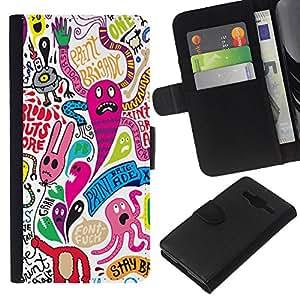 KingStore / Leather Etui en cuir / Samsung Galaxy Core Prime / Fondo de pantalla colorido personaje de dibujos animados Monsters