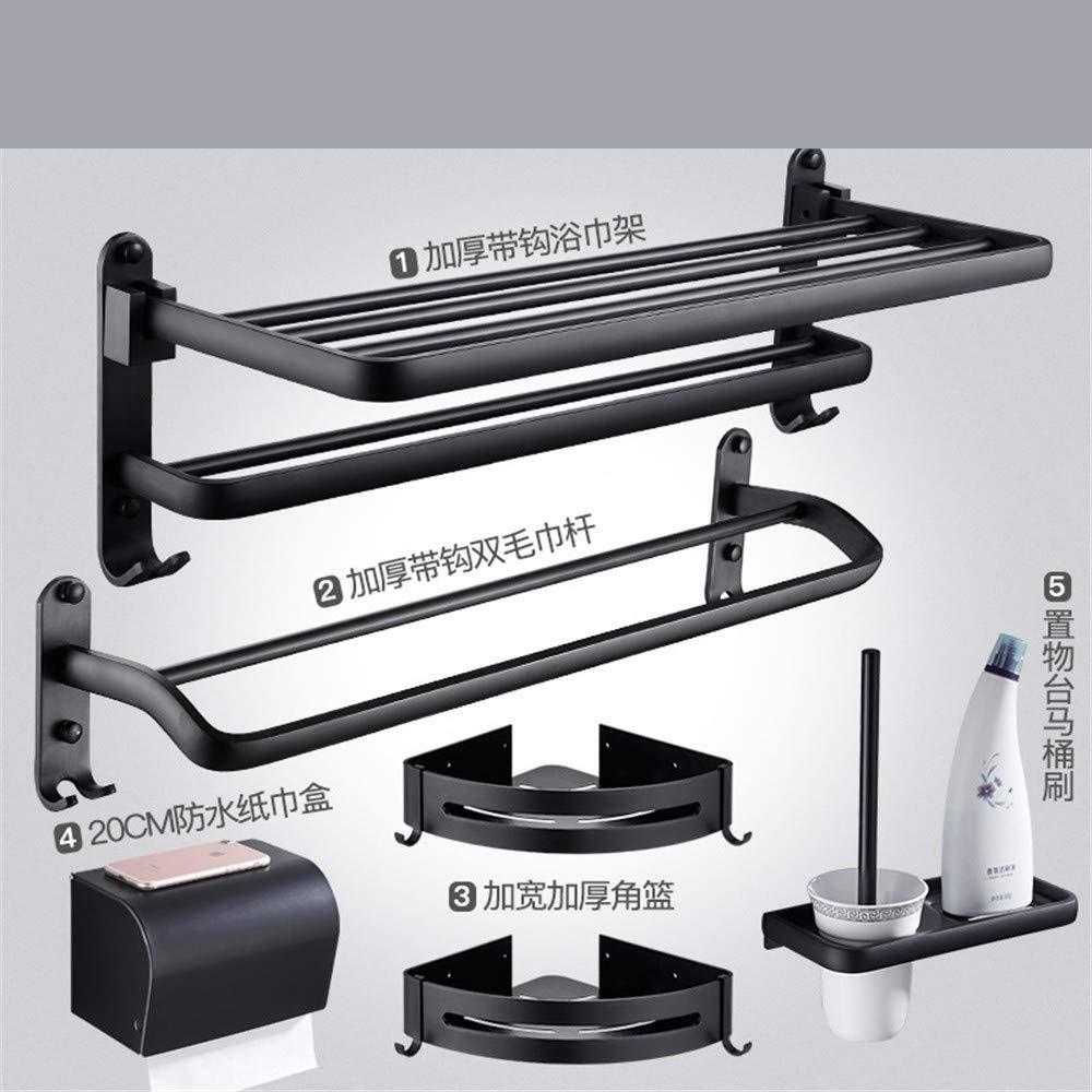 espacio para perchero de aluminio estante Touyyo Juego de colgantes para ba/ño ba/ño negro B4 sin perforaciones estante de toalla