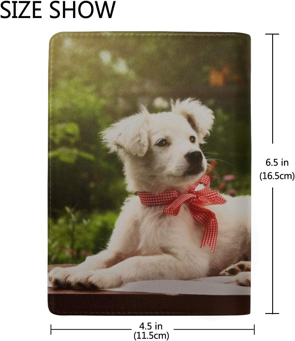 Lovely Dog And Tulip Bunch In Vase Blocking Print Passport Holder Cover Case Travel Luggage Passport Wallet Card Holder Made With Leather For Men Women Kids Family