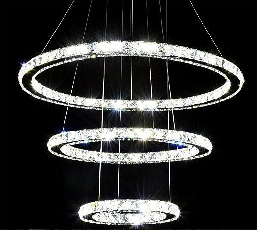 Amazon dixun crystal chandeliers modern crystal led pendant dixun crystal chandeliers modern crystal led pendant lights ring with three rings ceiling light fixture 20 aloadofball Images