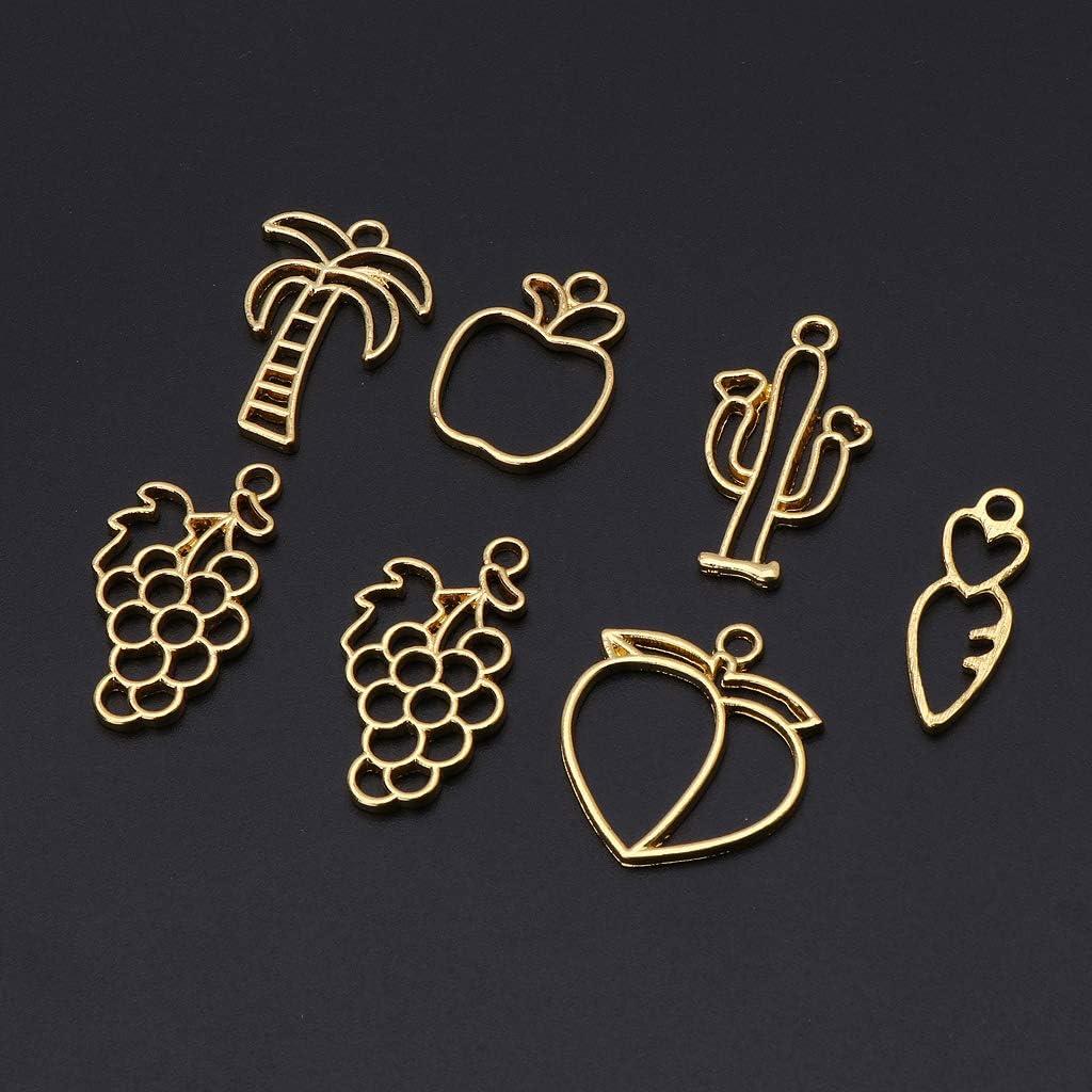 KunmniZ Lot de 6 pendentifs en forme de cadre avec cadre en r/ésine UV et fruits