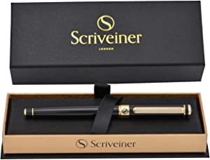Luxury Pen by Scriveiner London - Stunning Black Lacquer Rollerball Pen with 24K Gold Finish, Schmidt Black Ink Refill, Roller Ball Pen Gift for Men & Women, Professional, Executive, Office, Nice Pens