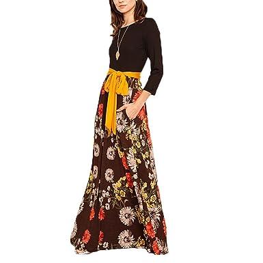 8b5796311a6 irene inevent Long Sleeve Floral Print Maxi Dress for Women Floor Length Tie  Waist Casual Loose