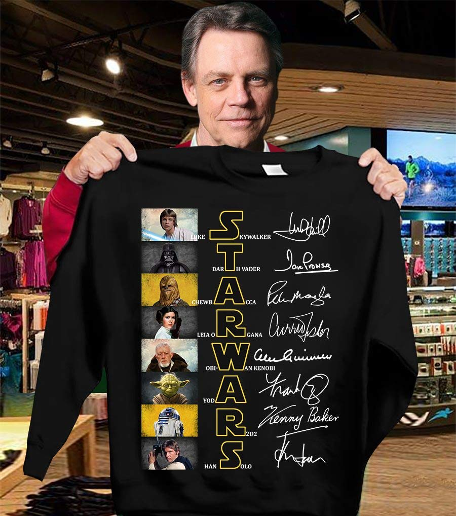 Unisex Hoodie Short Sleeves Shirt Character Signature Shirt For Star Wars Fans Sweatshirt For Mens Womens Ladies