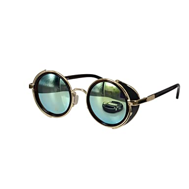 11a5470c4e2 Image Unavailable. Image not available for. Color  Ucspai Steampunk  Sunglasses Gold Frame with Yellow Reflective Lens