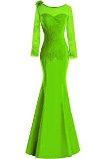 895f65f5046d SDRESS Women's Long Sleeve Mermaid Mother of The Bride Dress Lace Applique  Flower Prom Gown