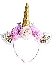 Bandeau Licorne pour fille Doré Licorne Corne Bandeau avec oreilles et de fleurs pour Halloween Noël Fête d'anniversaire Cosplay Lot de 1