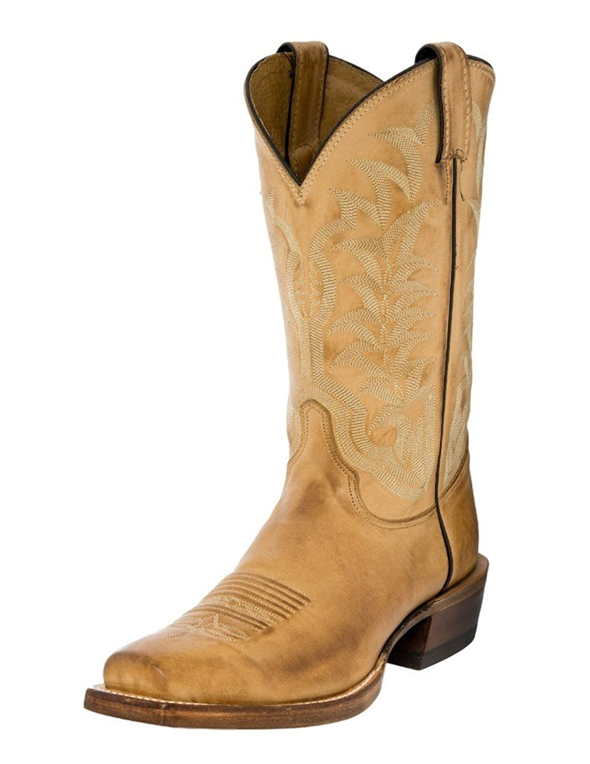 Justin Western Boots Mens Half Moon Square Toe 9 D Golden Tan 2712