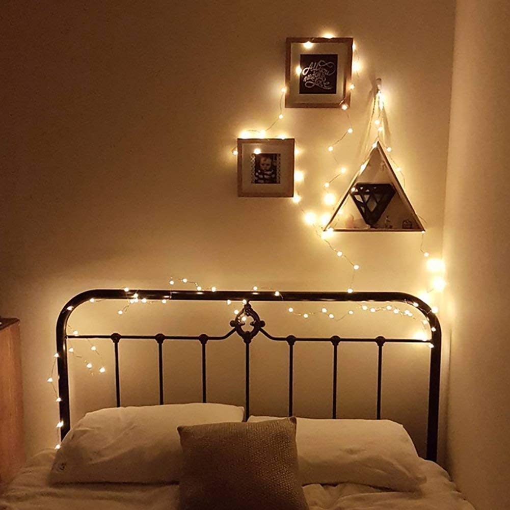 Fairy Lights Battery Powered Indoor, led Light Strings for Bedroom Warm White,Silver Wire 2 Packs 5m 50 LEDs Perfect for Christmas, Bedroom and Wedding Decoration etc.