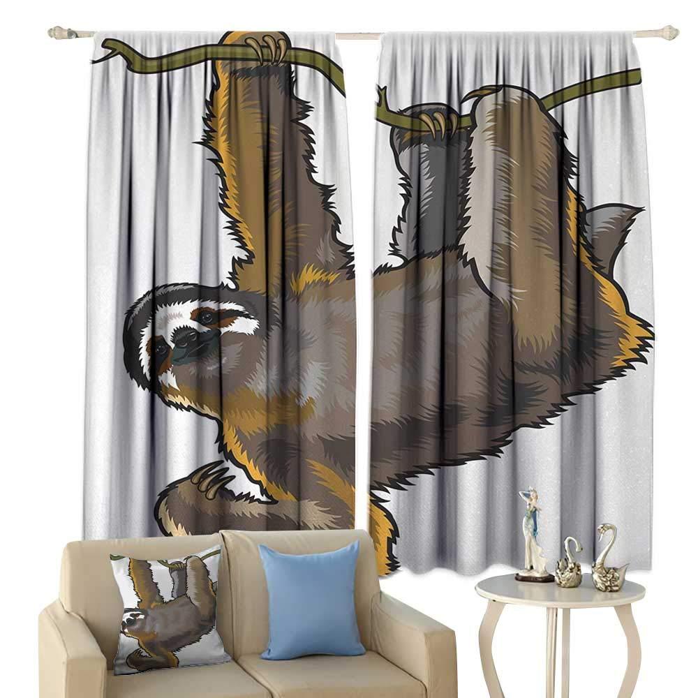 HoBeauty Animal, Thermal Insulating Blackout Curtain, Cartoon Like Sloth Bear Tropic Wild Cute Lazy Sleepy Creature Australian Theme Artwork, Blackout Draperies for Bedroom,(W55 x L39 Inch, Grey
